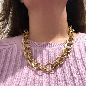 Vintage gold colored bamboo link necklace